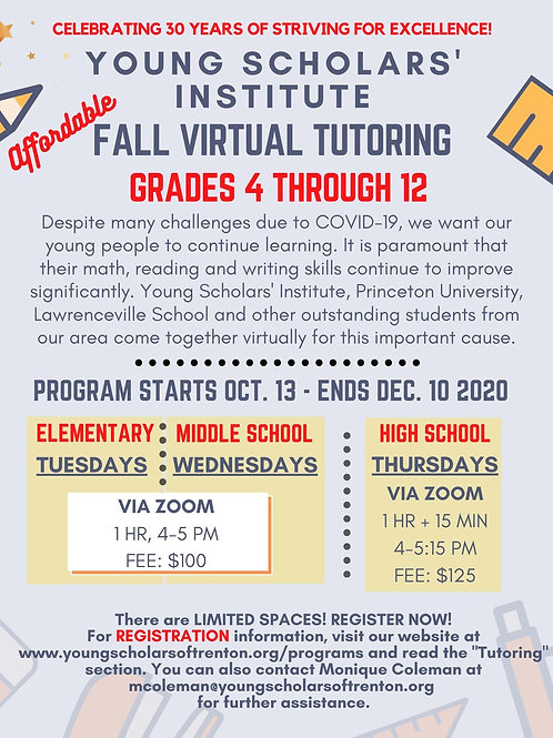 Virtual Fall 2020 Tutoring (ELEMENTARY AND MIDDLE SCHOOL ONLY)