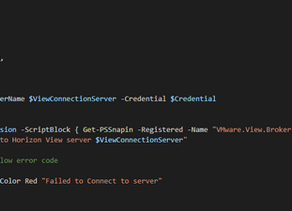 Function to Connect To Horizon View Connection server Via PowerCli
