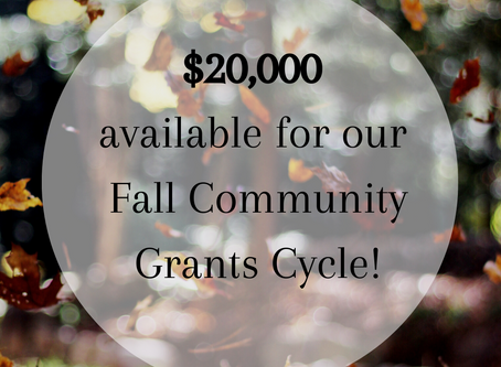 FALL GRANTS CYCLE NOW OPEN