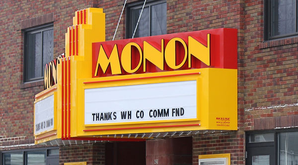 "Monon Theatre Marqee sign saying ""Thanks White County Community Foundation"""