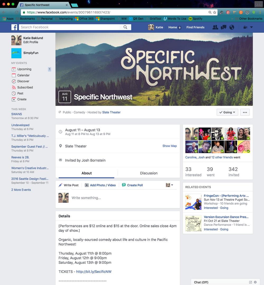 Specific NorthWest Event Page