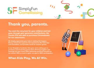 SimplyFun Gameraising Thank You Card