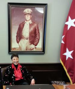 In Gen MacArthur's chair