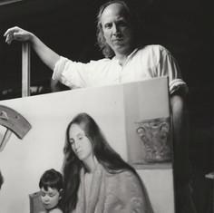 """Luciano Regoli dipinge """"Lo Sposalizio Mistico di Santa Caterina"""". Foto di Hans Georg Berger."""