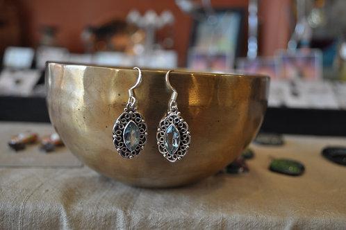 Blue Topaz earrings set in sterling silver