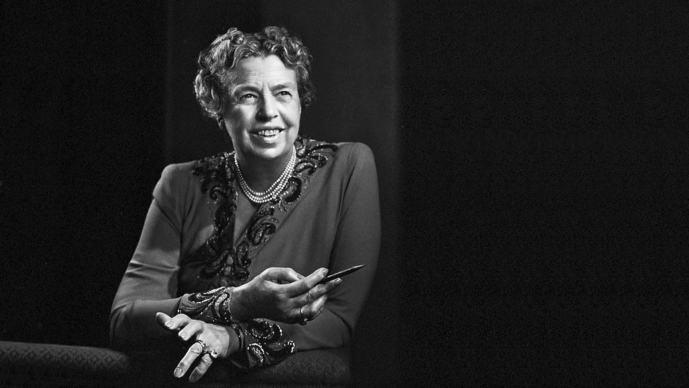 Black and white photo of Eleanor Roosevelt