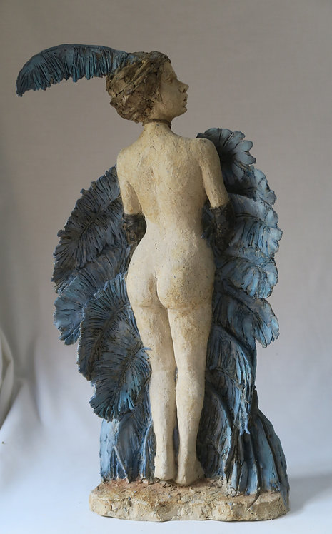 Nude with Blue Ostrich Feather Fan