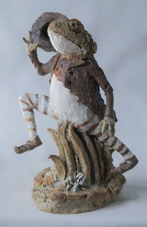 Leaping Frog with Stripy Stockings