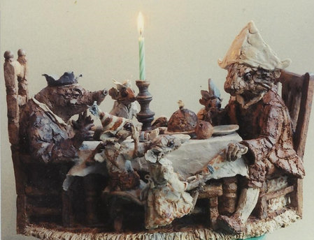 Ratty, Mole and four Mice at a Christmas table