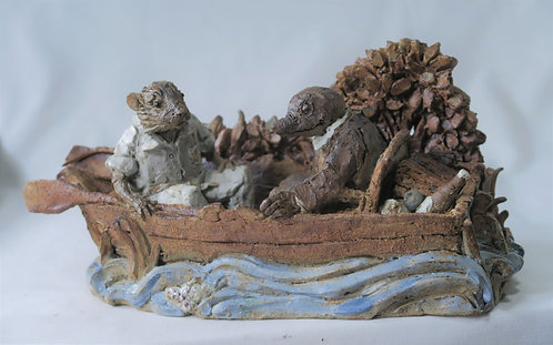 Moley and Ratty in a Boat