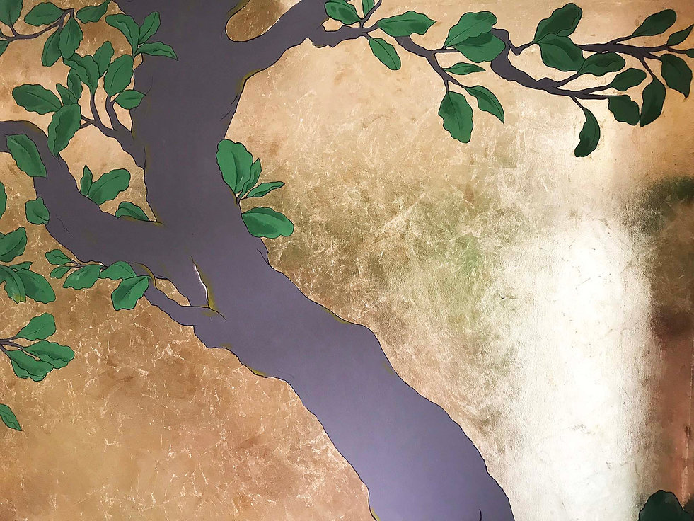 PANDA PARKER hand painted tree japanese mural nature art large scale