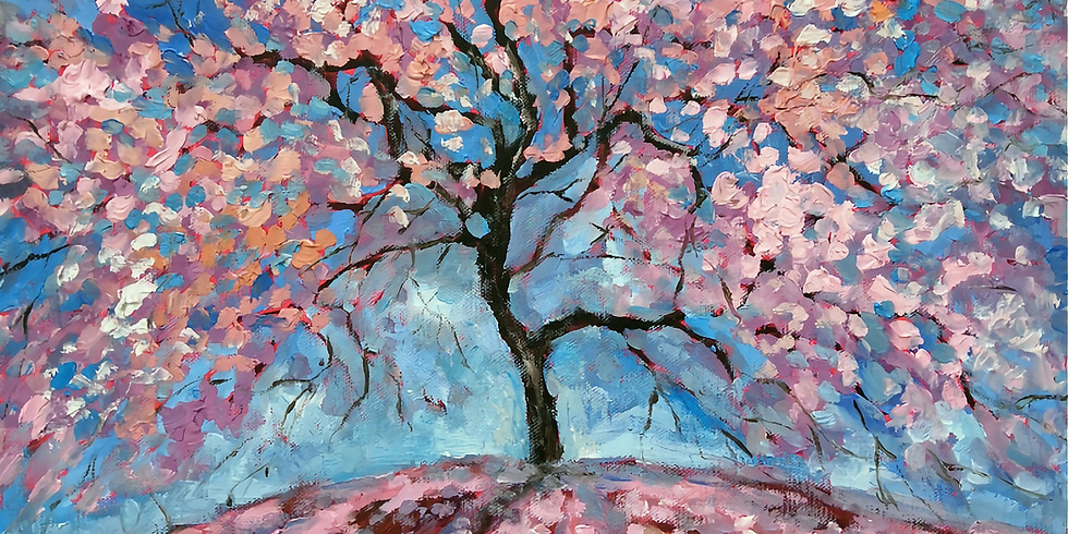 Pink Tree and Hillside Instructed Paint and Sip Event