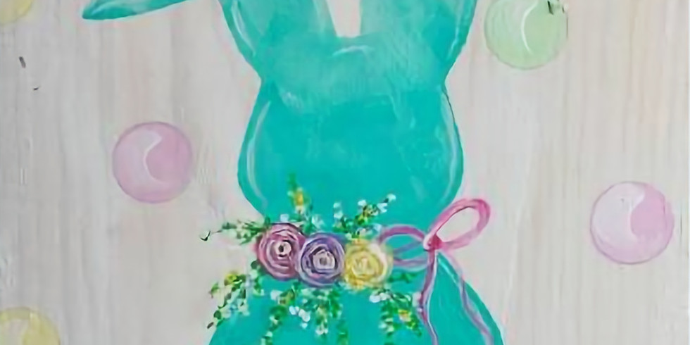Bunny with Flowers on Wood, Instructed Paint and Sip Event