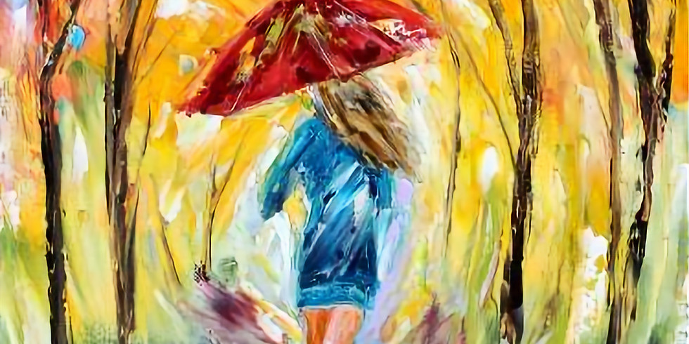 Red Umbrella Girl Instructed Paint and Sip Event