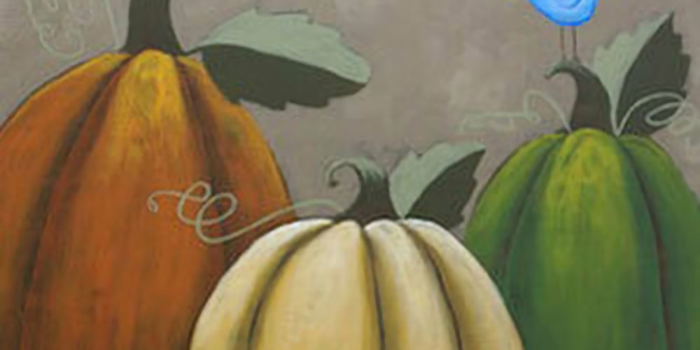 Rustic Pumpkins and Blue bird on wood or canvas
