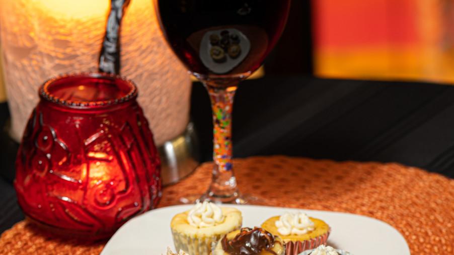 Enjoy wine & dessert at the Art Lounge