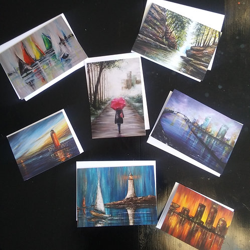 "Assorted 6 pk 4x6"" Note Cards of Stacie's original art works"