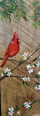 Cardinal Painting on Wood