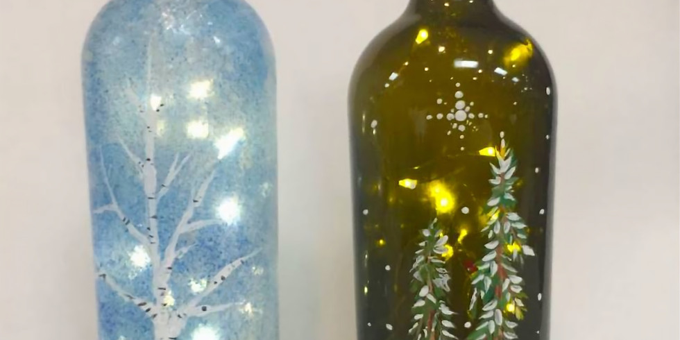Wine Bottle class with Uptown Art in person or take home