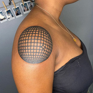 Disco ball for Adrianna's first tattoo,