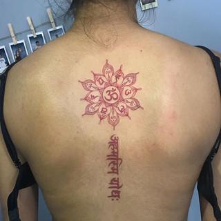 Custom chakra mandala over a healed mant