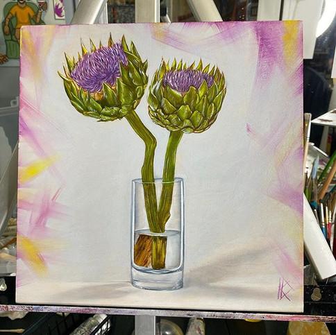 Artichoke flowers study April-2020
