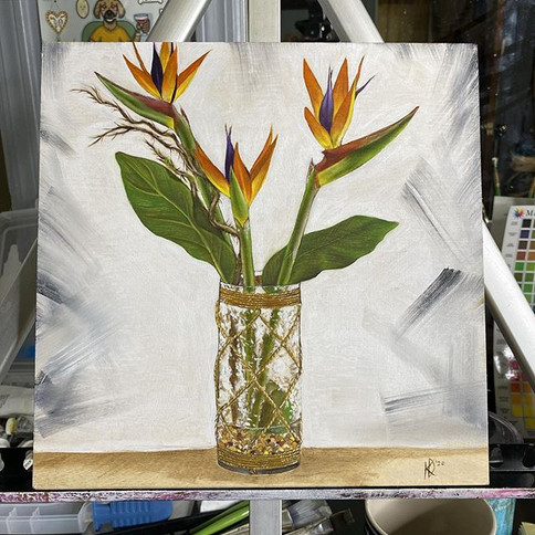Bird of Paradise flower study March-2020 🌱 oil on