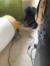 Cutting tile floor, controlling airborne dust!