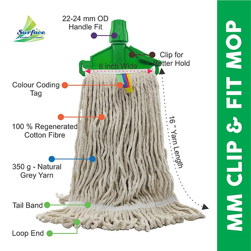 "MM Clip & Fit WetMop with 5""ft (22 OD) Mild Steel Rod"