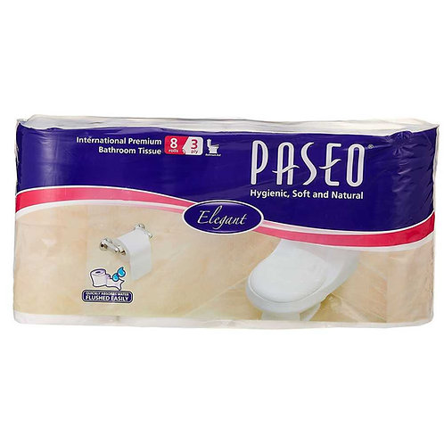 Paseo Tissues Toilet Roll 3 ply -300 Pulls (8 Rolls)