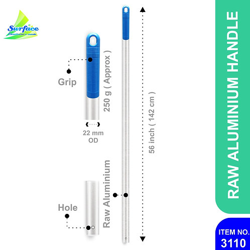 3110 Alumnium Handle with Hole, 22 mm - 142 cm