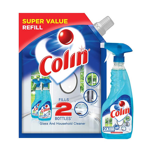 Colin Glass and Surface Cleaner with Shine Boosters, Regular (Refill 1L+ Spray