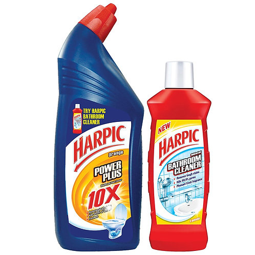 Harpic Powerplus Orange - 1 L + Free Bathroom Cleaner - 200 ml