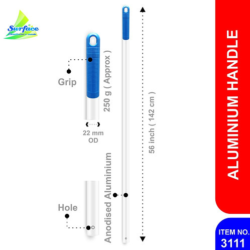 3111 Anodised Alumnium Handle with Hole, 22 mm - 142 cm