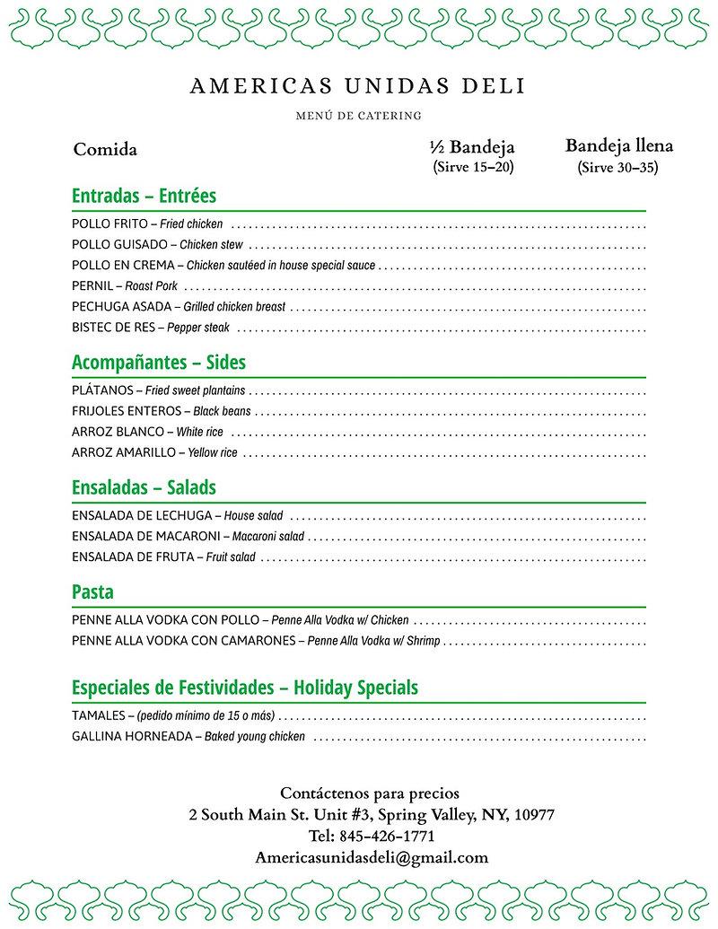 no price Catering menu - Americas Unidas