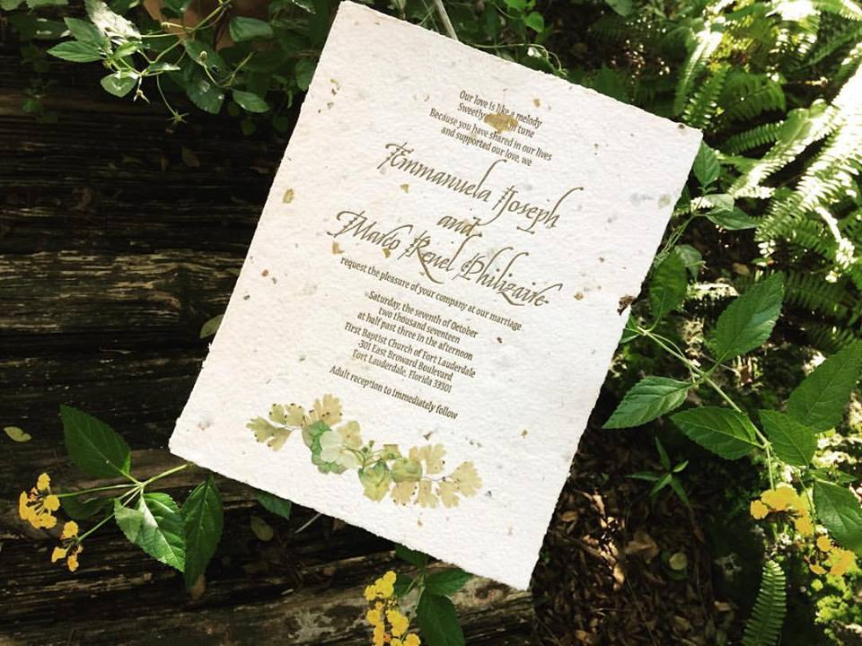 Scroll Invitation and Natural Flower