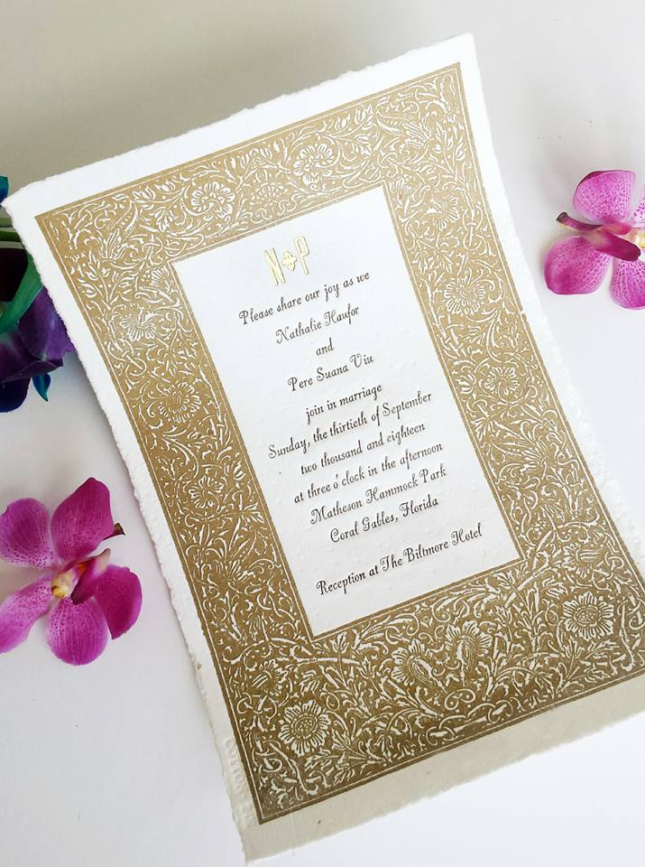24K Gold Invitation with Border