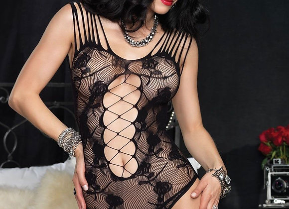 Floral Lace Teddy With Shredded Straps