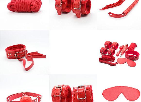 7 piece bondage set red