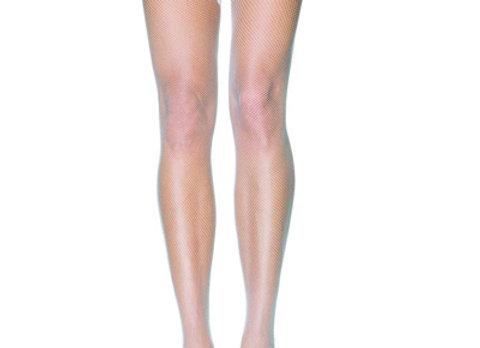 white fishnet thigh highs