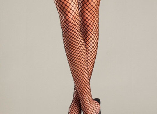 Fishnet Thigh High With Vinyl Top and Cop Badge