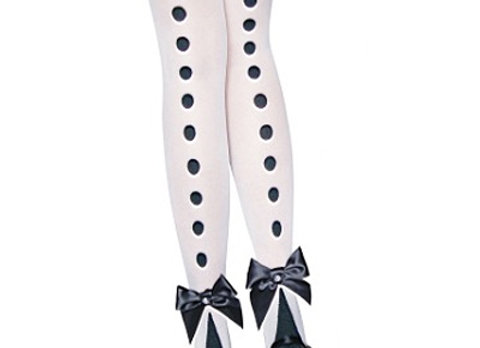 Dots Row Back Bowknot Thigh Highs