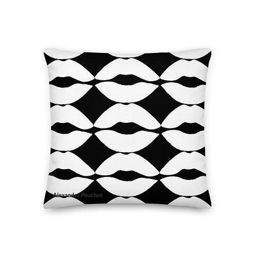 Black and White Lip Premium Pillow