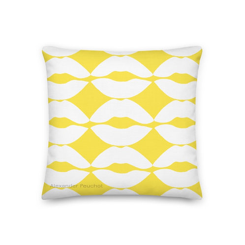 Yellow and White 18x18 Premium Lip Pillow