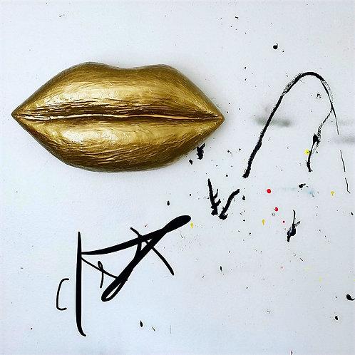 """Signature 30"""" Gold Lip Sculpture"""