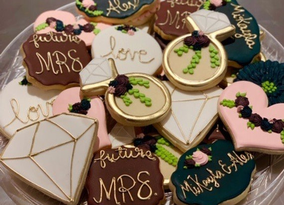 Wedding Announcement Decorated Cookies
