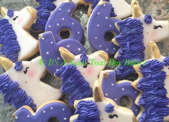 """Unicorn"" Birthday Decorated Cookies"