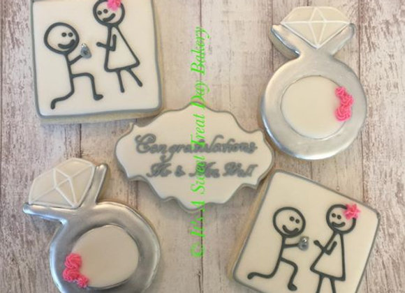 """""""Engagement"""" Decorated Cookies"""