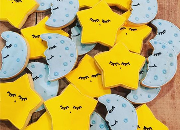 """Moons and Stars"" Decorated Cookies"