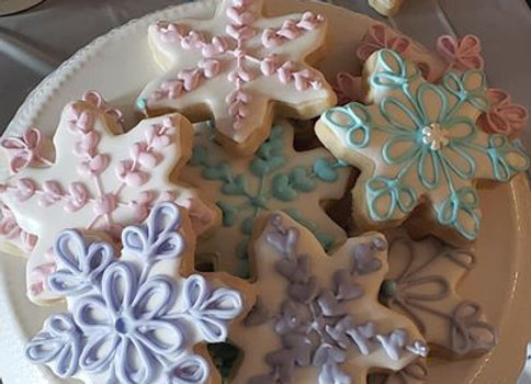 """Snowflake"" Decorated Cookies"